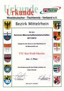Urkunde 3. Platz Herren AK 40, Mannschaftsmeisterschaft 2011-2012