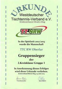 Urkunde 1. Platz Herren 2. Kreisklasse Gruppe 1, Mannschaftsmeisterschaft 2012-2013