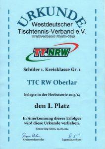 Urkunde 1. Platz Schüler 1. Kreisklasse Gruppe 1, Mannschaftsmeisterschaft Herbstserie 2013-2014