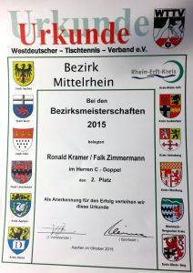 Urkunde 2. Platz Herren-C Doppel Ronald Kramer, Bezirksmeisterschaft