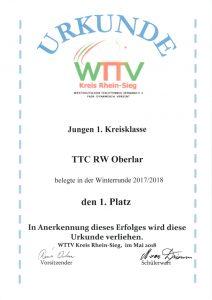 2018-05-28 Urkunde 1. Platz Jungen 1. Kreisklasse, Mannschaftsmeisterschaft Herbstserie 2017-2018